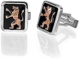 Silver Cufflinks Rose Gold Lion of Judah Black Onyx Biblical Cufflinks Judaica Gift Men's Jewelry Israeli Jewelry Fathers Day Gift