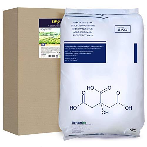 Nortembio Ácido Cítrico 25 Kg. Polvo Anhidro, 100% Puro. para Producción Ecológica. Producto CE.