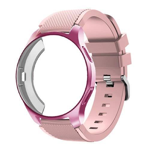 ZLRFCOK Funda de silicona+correa para Samsung Galaxy Watch de 46 mm/42 mm, correa Gear S3 Frontier+funda protectora (color de la correa: polvo suave 15, ancho de la correa: Gear S3)