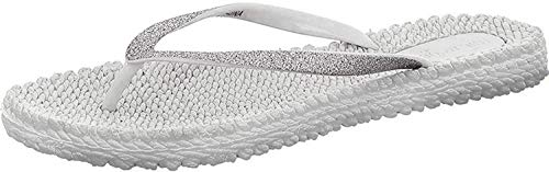 Ilse Jacobsen Damen Sandalen flach | Flip Flops mit Riemen | Schuhe mit Sohle aus Bast | Glitter Look | CHEERFUL01 ,35 EU,Silber