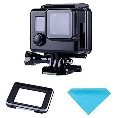 Suptig Protective case Black Charging case Wire Connectable Skeleton Protective Side Open Housing case for GoPro Hero 4 Hero 3+ Hero 3 Camera by Suptig