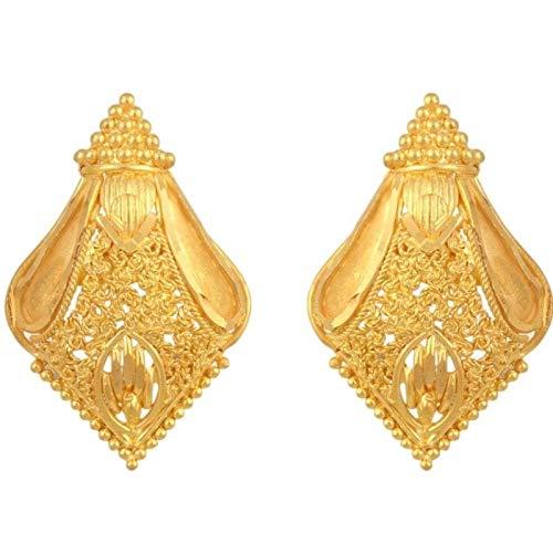 New Solid 22K/18K Fine Gold Indian Stud Type Beautiful Design Earrings