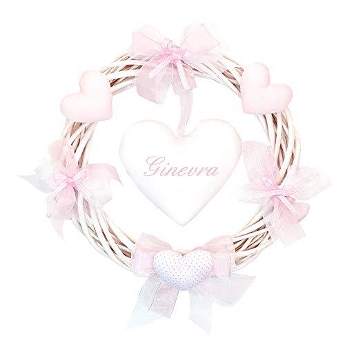 Coccole- Fiocco nascita ghirlanda in vimini con applicazione e nome personalizzato in confezione regalo (Rosa)