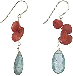 Green and Orange Carnelian Faceted Dangle Earrings with Green Aquamarine on 14K Gold Filled French Earwire