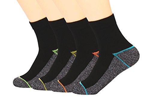 Kupfer Antibakterielle Athletische Socken f¨¹r M?nner und Frauen-Feuchtigkeits-Docht, rutschfeste Kissen Kn?chelsocken, Mehrfarbig-4 Pairs, Shoe M:34-44 EUR