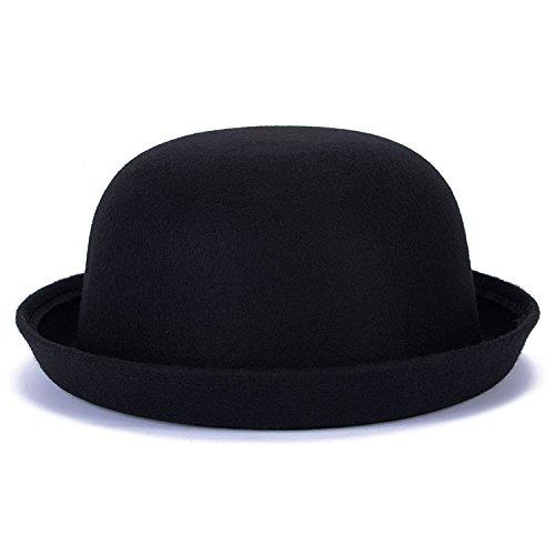 Magik, cappello Fedora in lana con bordo rialzato, bombetta da uomo o cloche da donna Black Taglia unica