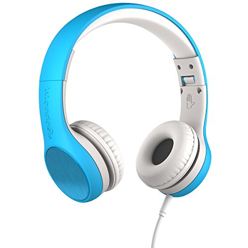 LilGadgets Connect+ Style Kids Premium Volume Limited Wired Headphones with SharePort and Inline Microphone (Children, Toddlers) - Blue