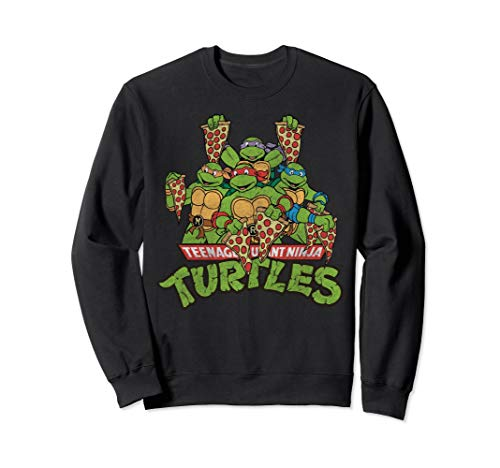 Retro TMNT Characters With Pizza Slices Sweatshirt Sweatshirt