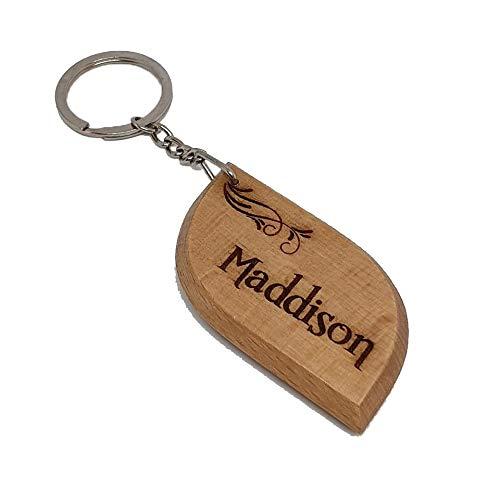 Maddison Personalised Name Engraved Wooden Keyring Keychain Key Ring