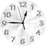 BINGTANGXUELI Co.,ltd Wanduhr Fidschi Flagge Uhr Nummer R&e Wanduhr Arabische Ziffern Uhr Silent Non Ticking Clock Dekor Bunte Wohnküche Schule 10 Zoll