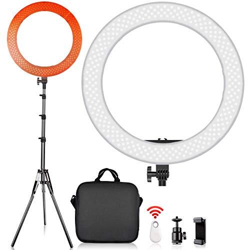 SAMTIAN LED Luce Anello Kit 14 pollici / 36cm esterno Luminoso Ring Light Portatile Anulare Dimmerabile 5500K 45W con treppiede 2M per video di Youtube, Tik Tok, scatto, autoritratto, trucco, vlog