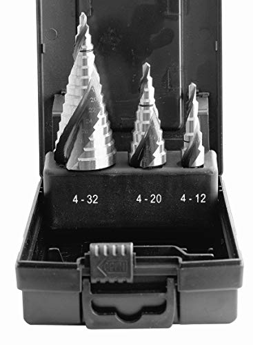 Proteco-Werkzeug® HSS Titan TIN TiALN Profi Stufenbohrer Konusbohrer Schälbohrer Metallbohrer Set 3-tlg.
