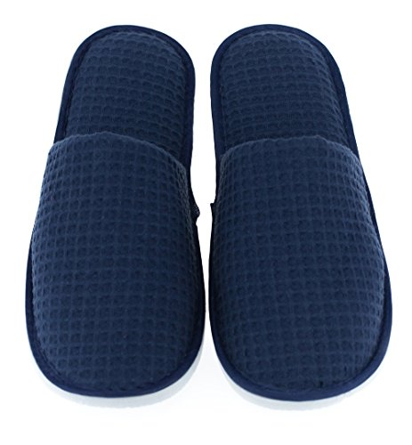LUXEHOME Disposable Slippers, Closed Toe Waffle Cotton Guest Spa Slippers, 2 Size Slippers Fit Most Women and Men, Navy Blue and White, 5 Pairs