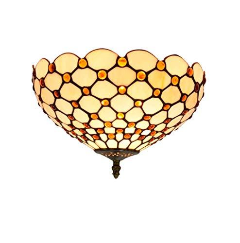 Yjmgrowing Plafonnier de Style Tiffany Plafonnier Coulissant avec Abat-Jour en Verre teinté Fait Main de 12 Pouces Appareils d'éclairage de Porche d'entrée rétro,E27,40W (30 * 21cm)