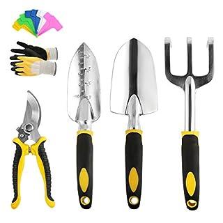 scheda leadstar attrezzi da giardino set, 5 pezzi acciaio inossidabile utensili in lega di alluminio con manici ergonomici,comprende guanti da giardino, forbici, rastrello, pala, cazzuola, etichette vegetali