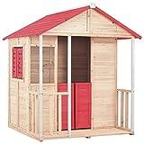 UBaymax XL Kinderspielhaus Spielhaus, Gartenhaus aus Holz, Blockbohlenhaus mit Veranda, Fenstern,...