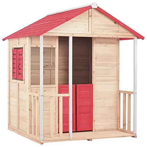 vidaXL Casa de Juegos de Niños Madera Roja Casita Infantil Juegos Aire Libre Diversión Niños Pequeños Uso para Interior/Exterior Segura Estable