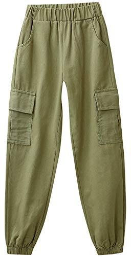 ZRFNFMA Pantalones de niña de Primavera y Otoño Modelos de Chándal de Niños Grandes Niños de Algodón Casual Wear Pantalones de Niña Adecuado para Niños o Niñas Pantalones Casual Verde 130cm