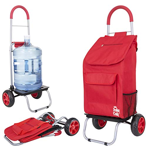 dbest products Trolley Dolly, Red Shopping Grocery Foldable Cart