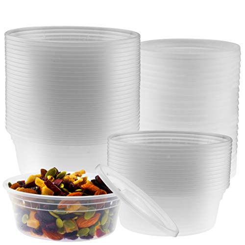 8-Ounce Clear Deli Containers with Lids | Stackable, BPA-Free Food Storage Container Set | Recyclable Space Saver Airtight Container for Kitchen Storage, Meal Prep, Take Out | 40 Pack