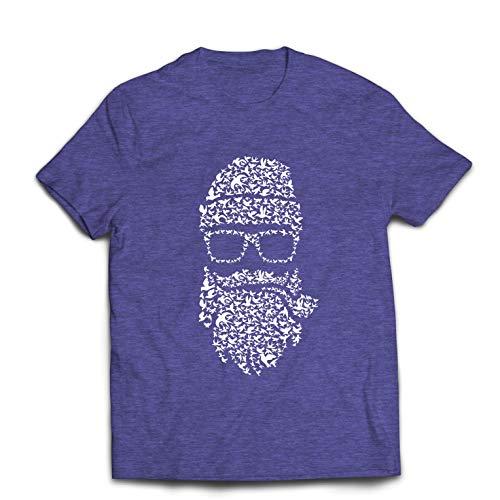 lepni.me Camisetas Hombre Noviembre No Afeitado, Barba de pjaros, Estilo Hipster (X-Large Brezo Azul Multicolor)