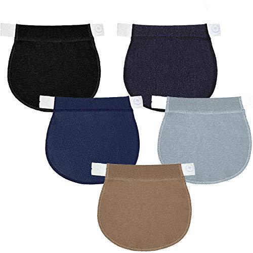 SATINIOR 5 Pieces Maternity Pants Extender Adjustable Pregnancy Waistband Extender Adjustable Waist Extenders Elastic Trouser Extender for Women Pregnancy, 5 Colors, Black, Blue, Khaki, Navy Blue and Light Blue, 8.7 x 1.0 inch/ 22 x 2 cm