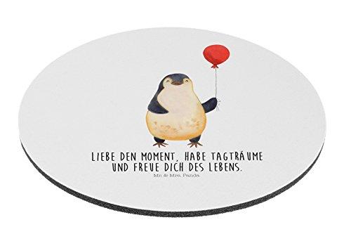 Mr. & Mrs. Panda PC, Schreibtisch, Rund Mauspad Pinguin Luftballon mit Spruch - Farbe Weiß