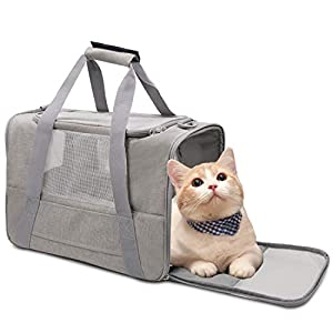 NAT Dog Carrier Cat Carrier Pet Carrier, Airline Approved Dog Carrier with Mesh Window, Breathable, Collapsible, Soft-Sided, Escape Proof, Easy Storage, Best for Small Medium Cats Dogs, Grey