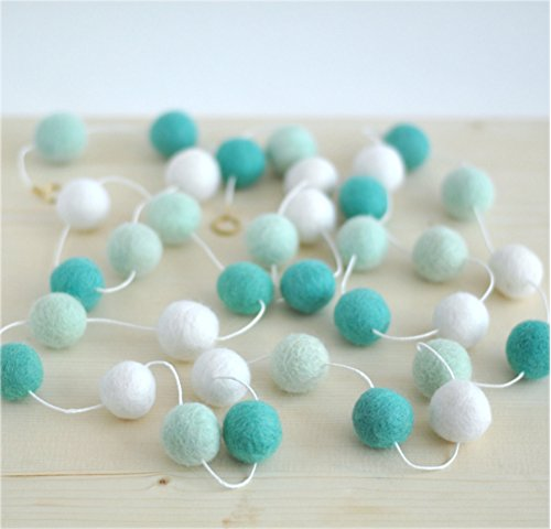 Lesirit Multicolor Handmade Wool Felt Ball Garland, Pom Pom Garland Wall Hanging for Kids Room Nursery Birthday Party Halloween Decoration from (G)