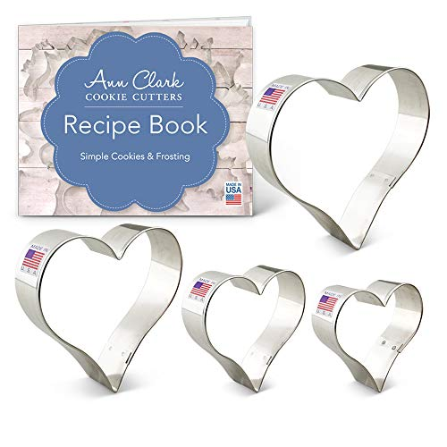 "Ann Clark Cookie Cutters 4-Piece Heart Cookie Cutter Set with Recipe Booklet, 2.75"", 3.25"", 3.75"", 4"""