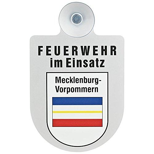 Feuerwehr im Einsatz KFZ Aluschild mit Saugnapf und Bundesland Wappen (Mecklenburg-Vorpommern)