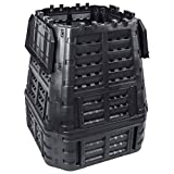 vidaXL Compostiera da Giardino Nera 93,3x93,3x113 cm 740 L
