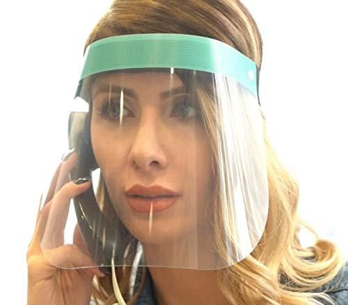 Fredo® 2X Visier aus Kunststoff - transparentes Gesichtsvisier mit verstellbarem Gummiband für Männer/Frauen/Kinder-Blau