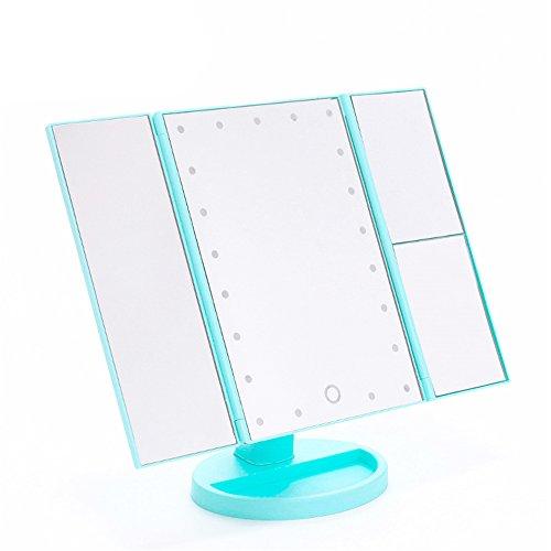 qearly Grand écran tactile USB rechargeable Ultra haute définition Miroir sur pied Miroir grossissant de vert