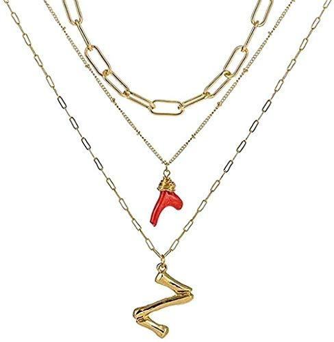 Yiffshunl Collar Mujer Collar Collar Inicial Oro Bambú Letra Iniciales Nombre Collares Coral Rojo Colgante Cadena de eslabones para Mujer Regalo de cumpleaños