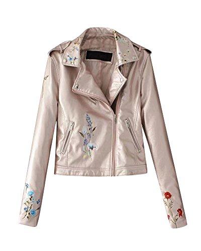 Faux Leder Damen Motorrad Jacke Zip Up Reißverschluss Oberbekleidung Kunstlederjacke Bikerjacke Blazer Pink 2 L