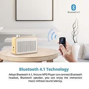 Victure Bluetooth MP3 Player 16GB Mini Sport Musik Player mit Clip, 21 Stunden Wiedergabe Musikplayer mit FM Radio, Unterstützt bis 128 GB SD Karte