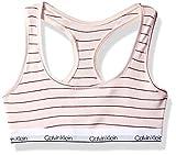 Calvin Klein Big Girls' Modern Cotton Bralette, ck Rose Stripe, Medium (7/8)