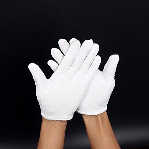 XuBa Weiße weiche fusselfreie Performance Handschuhe für Saxophon, Trompete, Flöte, Klarinette, Marching Bands
