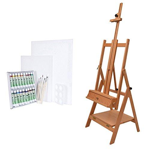 Artina Napoli - Set de Pintura - Caballete de Pintura de Estudio de Madera de Haya, Acuarelas, lienzos, Pinceles etc.