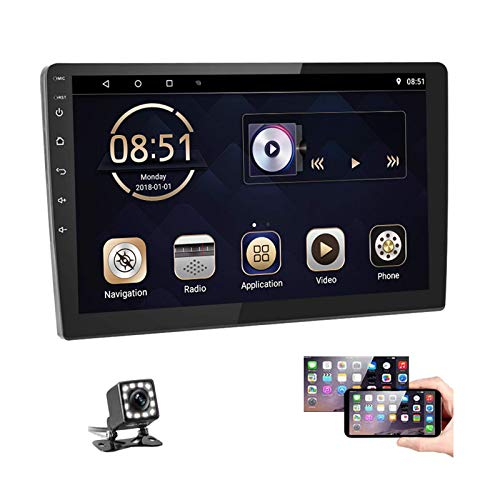 Podofo 10 Inch Android Double Din Car Stereo Radio Support Split Screen GPS Navigation Car Radio Touch Screen Head Unit with Bluetooth FM WiFi USB Mirror Link for Android/iOS Phone + Backup Camera