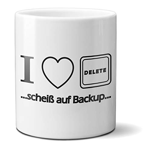 HAPPY FREAKS Spruch-Tasse 'I Love Delete' - weißer Kaffeebecher aus Keramik - 300ml - Kaffee Tee Saft Wasser