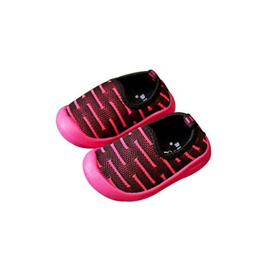 DEBAIJIA Scarpe per Bambini 1-4T Baby Ragazzi Ragazze Walking Stripe Suola Morbida Mesh Antiscivolo Traspirante Leggero TPR Materiale(Rose Rosso-28)