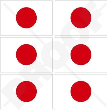 Japon Drapeau japonais hinomaru 40 mm (40,6 cm) Téléphone Mobile Mini en vinyle autocollants, Stickers x6