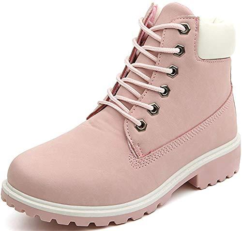 AILU Winterschuhe Damen Gefüttert Work Boots Wärme Stiefeletten Lace Up Damen Flach Schnür, Rosa, 40 EU