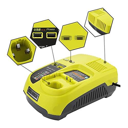 Lovelin17 Accesorio de herramientas P117 NI-CD Ni-MH Cargador de batería de iones de litio Ajuste para Ryobi 12V 14.4V 18V One + Cargador de serie P102 P103 P104 P105 P107 P108 ( Color : EU PLUG )