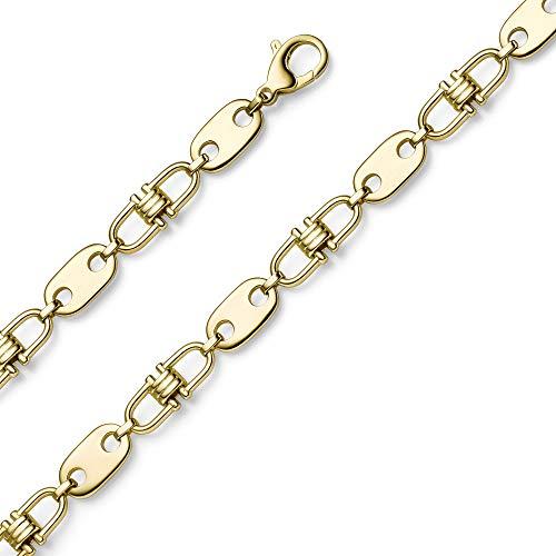 11mm Platte-Steigbügel Kette Collier Halskette aus 585 Gold Gelbgold massiv 55cm
