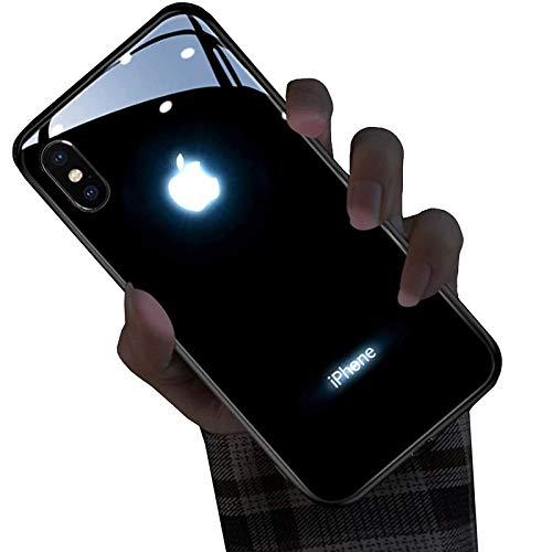 ZHANGMEI Glowing Funda para iPhone 12/12 Pro Case Logo LED Luminoso Up Case Suave TPU Anti-caída Anti-rasguños Bumper Cover,iPhone 7 Plus /8 Plus