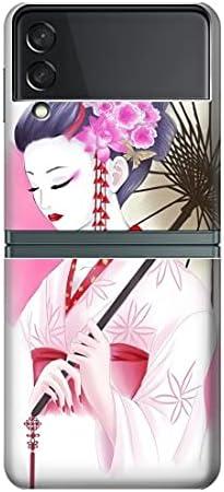 R2579 Japanese Traditional Geisha Kimono Case Cover for Samsung Galaxy Z Flip 3 5G