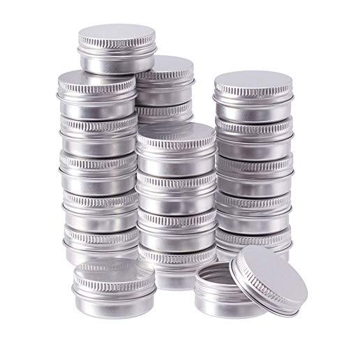 BENECREAT 24 Pack 10ml Lata de Aluminio Caja de Aluminio Redondas con Tapa de Rosca Contenedores Metálicos - Ideal para Almacenar Especias, Dulces, Té o Pastillas (Platino)